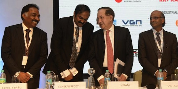 N. Ram, chairman, Kasturi and Sons Limited, (third from left) was speaking at the inauguration of CREDAI Southcon 2013. Also seen (from left): T. Chitty Babu, C. Shekar Reddy, and Lalit Kumar Jain of CREDAI. Photo: R. Ragu (The Hindu)