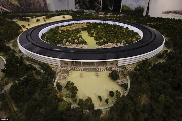 This room-sized mock-up of the planned new Apple headquarters in Cupertino was released in November last year before executives submitted their final plans to the council.